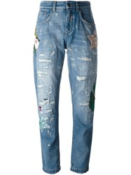 Dolce And Gabbana Embellished Boyfriend Jeans Blue