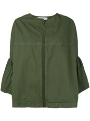 Jucca Ruffled Sleeves Cropped Jacket Women Cotton 40 Green
