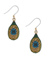 Lucky Brand Pave Peacock Goldtone Drop Earrings