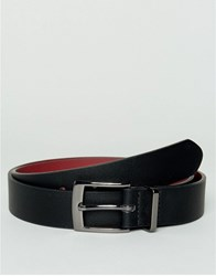 Asos Slim Belt In Faux Leather With Contrast Internal And Metal Keeper Black