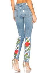 Off White Diag Roses 5 Pocket Skinny Jeans Vintage Wash