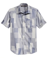 Sean John Men's Short Sleeve Patchwork Shirt Indigo Patchwork