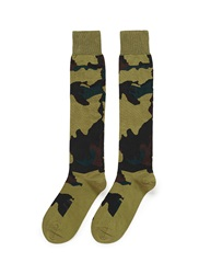 Valentino Camouflage Cotton Blend Socks Green