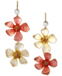 Betsey Johnson Gold Tone Pink And White Mismatch Flower Drop Earrings