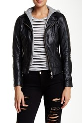 Doma Baby Venice Hooded Leather Jacket Black