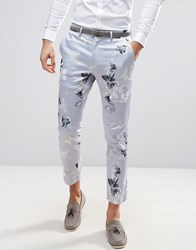 Asos Wedding Skinny Cropped Smart Trousers In Blue Floral Print Blue