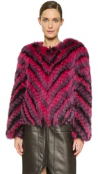 J. Mendel Dyed Fox Fur Jacket Noir Berry Fuchsia