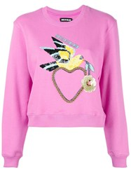 House Of Holland Dove Heart Cropped Sweatshirt Pink Purple