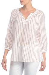 Nydj Women's Stripe Cotton Split Neck Top