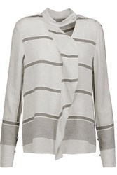 Derek Lam 10 Crosby By Ruffle Trimmed Striped Twill Top Stone