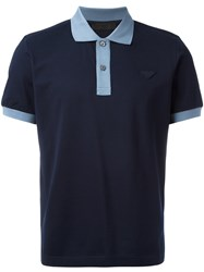 Prada Contrast Polo Shirt Blue