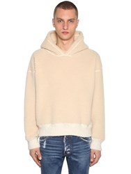 Dsquared Faux Shearling Sweatshirt Hoodie Off White