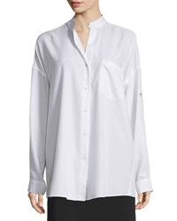 Helmut Lang Long Sleeve Open Back Poplin Blouse White