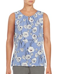 Ivanka Trump Floral Knit Shell French Blue