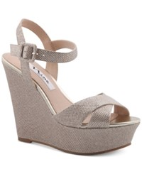 Nina Jinjer Platform Evening Wedge Sandals Women's Shoes Soft Silver