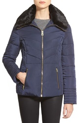 Guess Faux Fur Collar Quilted Jacket Regular And Petite Indigo