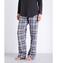 The White Company Checked Cotton Pyjama Bottoms Wht Dusky Pink