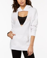 Material Girl Active Juniors' Cutout Graphic Hoodie Created For Macy's Bright White