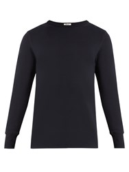 Acne Studios Finish Crew Neck Cotton Jersey Sweatshirt Navy