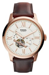Fossil Men's 'Townsman' Automatic Leather Strap Watch 44Mm