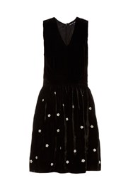 Jupe By Jackie Fintan Izzy Embroidered Silk Velvet Dress Black