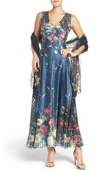 Komarov Women's Lace And Charmeuse A Line Gown And Shawl