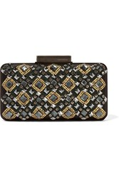 Emilio Pucci Embellished Satin And Leather Clutch Black
