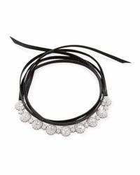 Fallon Surround Crystal And Leather Wrap Choker