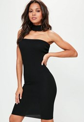 Missguided Petite Black Bandeau Choker Neck Sweater Dress