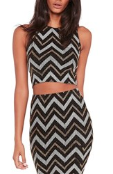 Missguided Women's Metallic Zigzag Crop Top