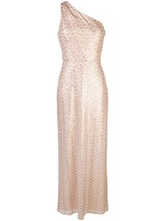Amsale One Shoulder Gown Gold
