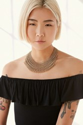 Urban Outfitters Chain Mail Statement Necklace Gold