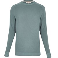 River Island Mens Green Ribbed Crew Neck Long Sleeve Jumper
