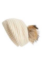 Women's Linda Richards Slouchy Angora Blend Beanie With Genuine Raccoon Pom Ivory Creme