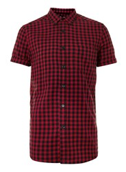 Topman Red And Black Gingham Button Down Casual Shirt