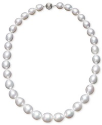 Macy's Pearl Necklace 18' 14K White Gold White Cultured South Sea Graduated Pearl Strand 10 13Mm Black