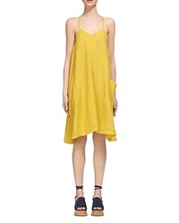 Whistles Marina Linen Swing Dress Yellow