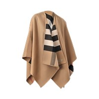 Burberry Charlotte Reversible Solid To Check Cape 140X140cm