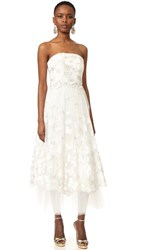 Marchesa Strapless Butterfly Dress Ivory