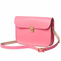 N'damus London Pink Leather 11 Inches Mini Satchel Pink Purple