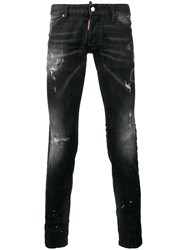 Dsquared2 Clement Bleached Distressed Jeans Black
