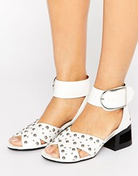 Truffle Collection Stud Mid Heel Sandal White Pu Silver