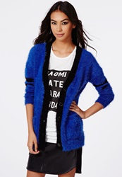 Missguided Ursa Fluffy Boyfriend Cardigan Blue Blue