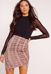 Missguided Slinky Snake Print Asymmetric Mini Skirt Pink Pink