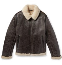 Acne Studios Shearling Lined Textured Leather Jacket Dark Brown