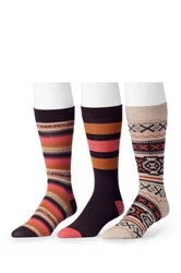 Muk Luks Assorted Socks Pack Of 3 Brown