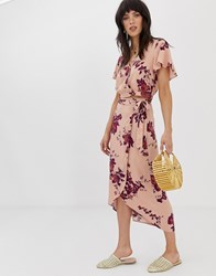 Band Of Gypsies Wrap Skirt Co Ord In Floral Print Pink