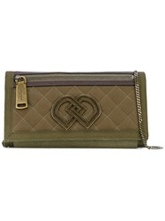 Dsquared2 Quilted Clutch Women Cotton Linen Flax Calf Leather Viscose One Size Green