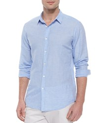 Theory Long Sleeve Linen Sport Shirt Light Blue