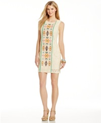 Spense Petite Embroidered Front Sleeveless Lace Dress Natural